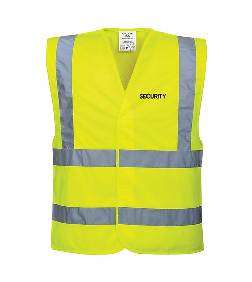 Yellow Hi Vis Vest showing left chest placement of the word security