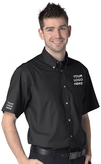 Black Short Sleeve Oxford Shirt showing left chest and right sleeve placement