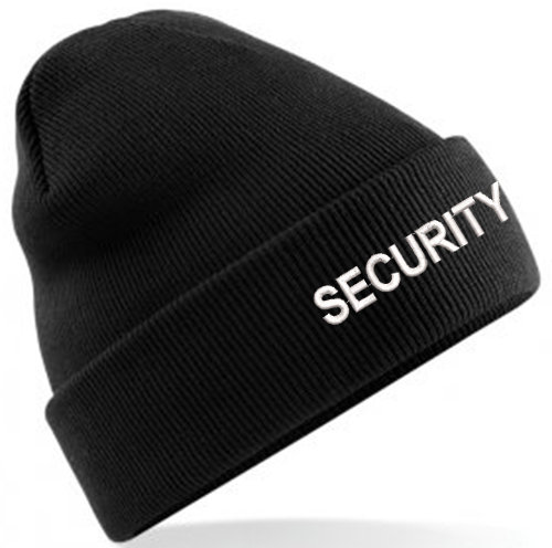 Black classic beanie showing security text and placement