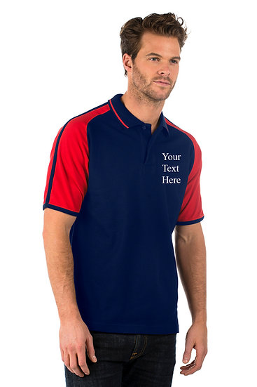 Navy Blue Polo Shirt with Red sleeves showing left chest placement