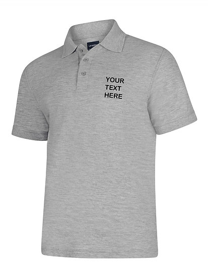 Heather Grey Polo Shirt showing left chest placement