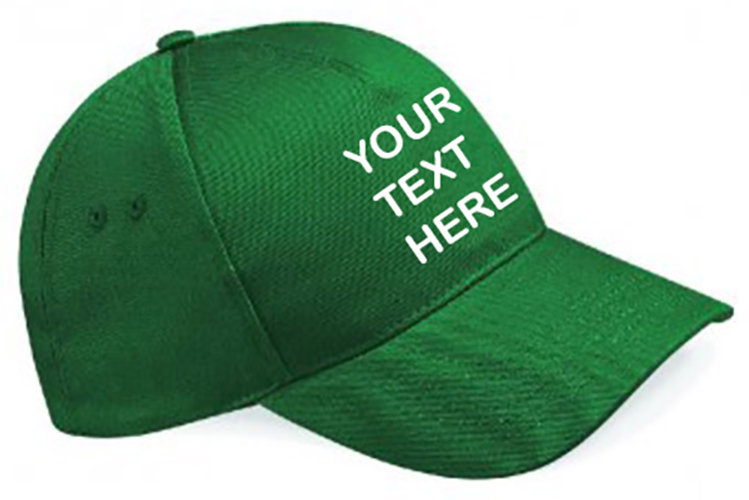 Bottle Green Classic Cap showing front placement