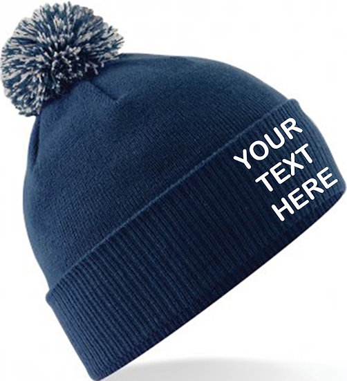 Navy Blue/Grey Contrast PomPom Beanie showing front placement