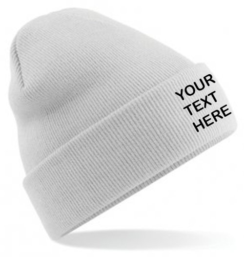 Light Grey Classic Beanie showing front placement