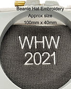 Text on a Beanie showing size/layout
