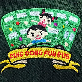 Ding Dong Fun Bus embroidery in various colours