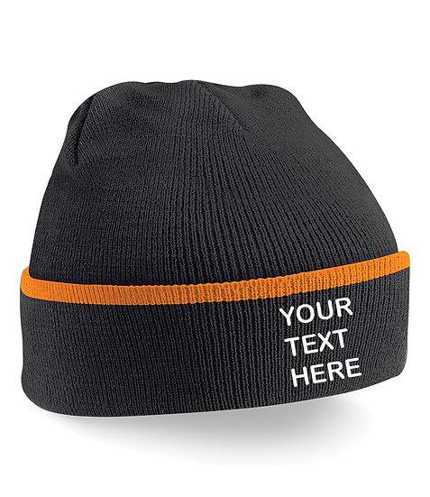Black/Orange Teamwear Beanie showing front placement