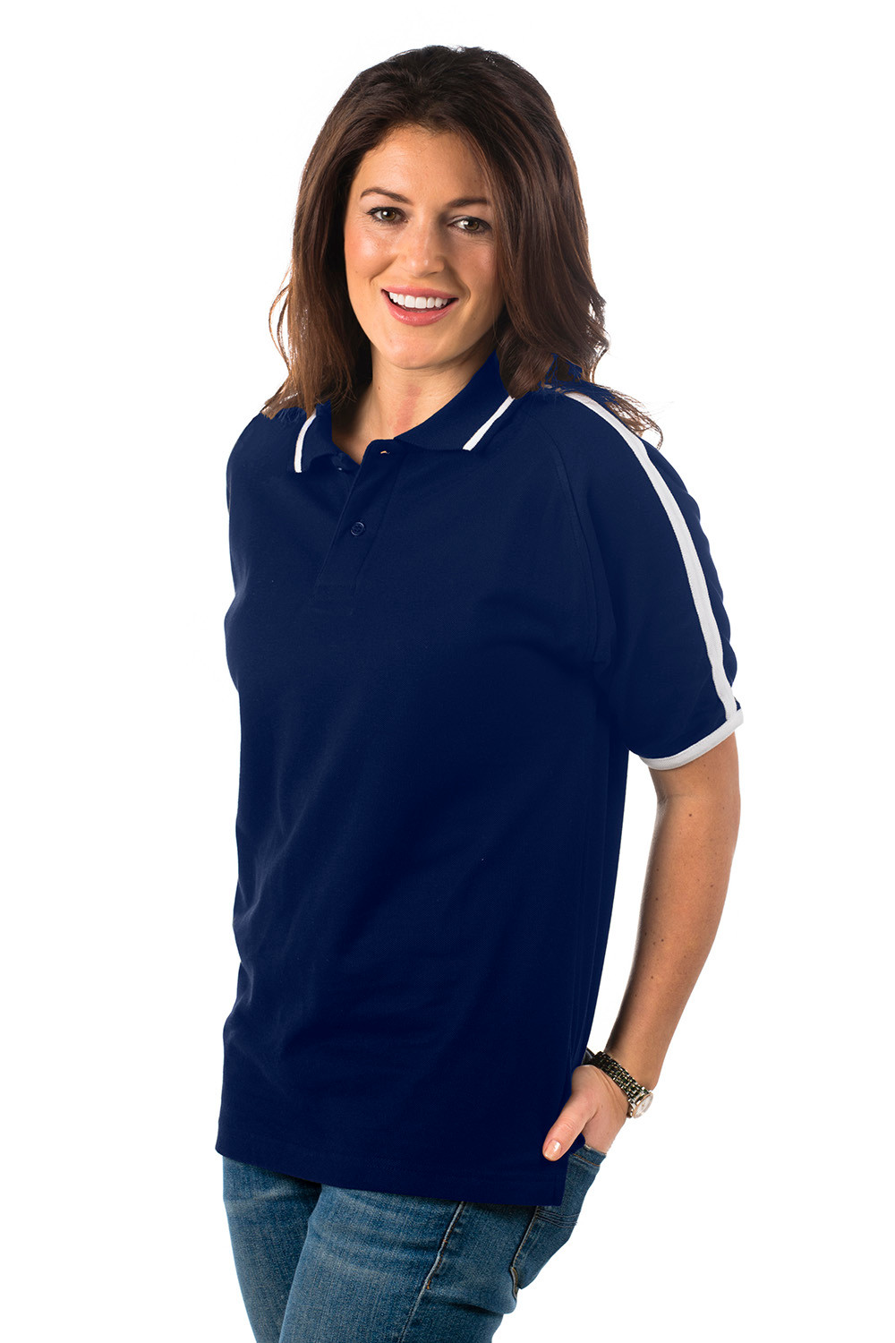 Navy Blue/White Polo Shirt