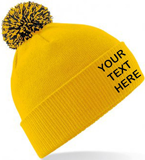 Gold/Black Contrast PomPom Beanie showing front placement