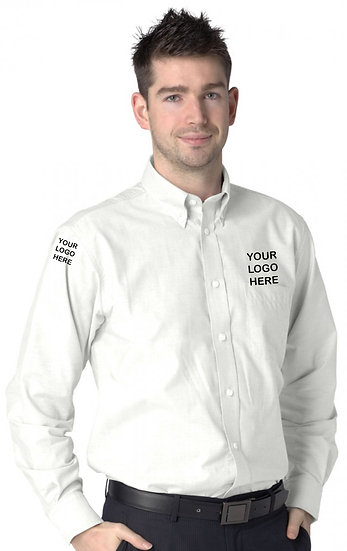 White Long Sleeve Oxford Shirt showing left chest and right sleeve placement