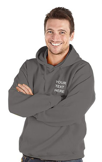 Charcoal Grey Hoody showing left chest placement
