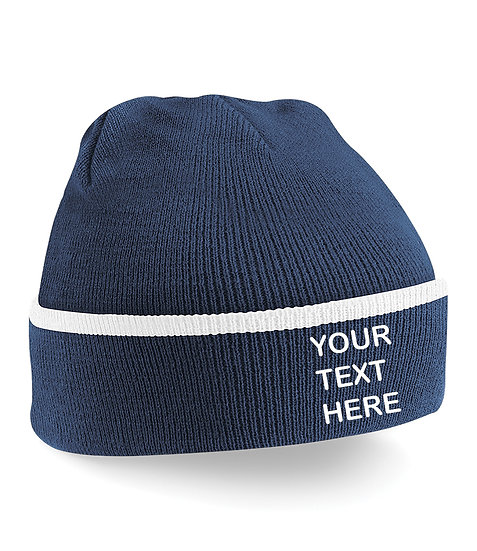 Navy Blue/White Teamwear Beanie showing front placement