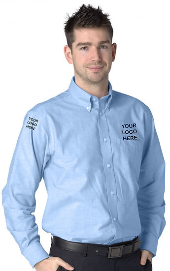 Sky Blue Long Sleeve Oxford Shirt showing left chest and right sleeve placement