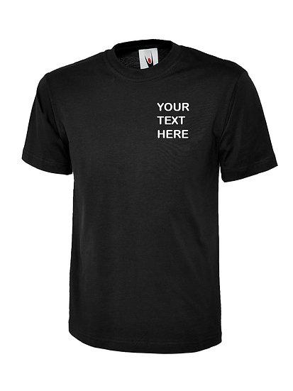 Black T-Shirt Uneek Brand showing left chest placement