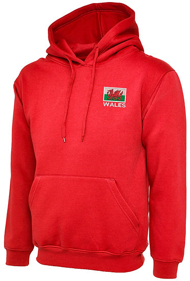 Red Hoody showing placement of design