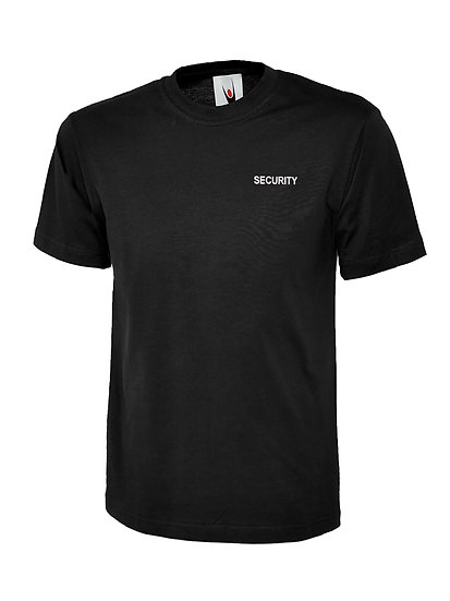 Black t-shirt showing left chest placement of text security