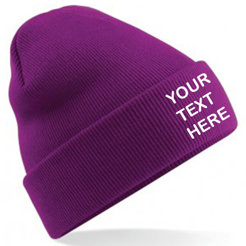 Magenta Classic Beanie showing front placement