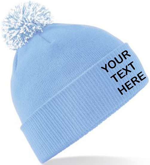 Sky Blue/White Contrast PomPom Beanie showing front placement