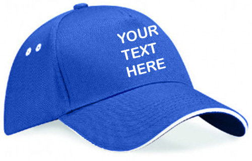 Royal blue cap with white  piping around the peak showing front placement