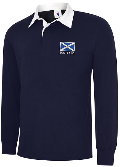 Navy Blue rugby shirt showing the placement of design
