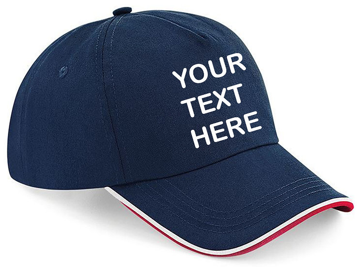 Navy Blue cap with red and white piping around the peak showing front placement