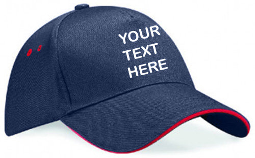 Navy blue cap with red piping around the peak showing front placement