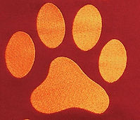Paw Print embroidery in orange