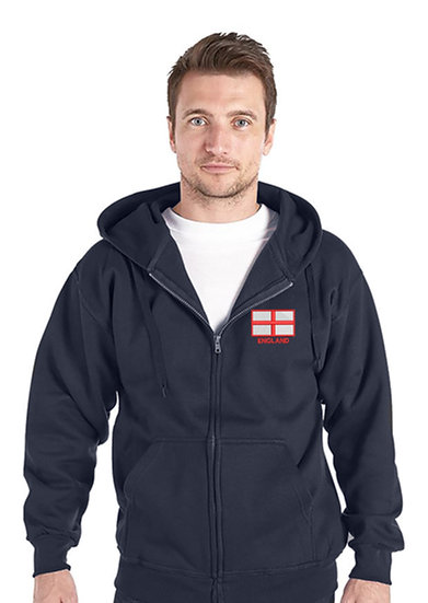 Navy Blue zipped Hoody showing St George flag design and left chest placement