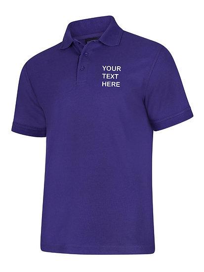 Purple Polo Shirt showing left chest placement