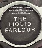 The Liquid Parlour left chest embroidery showing design details