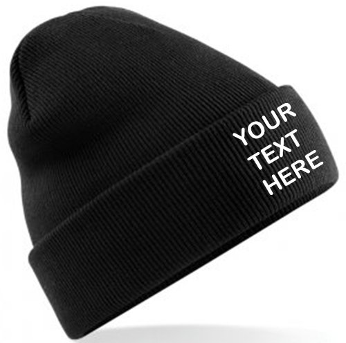 Black Classic Beanie showing  front placement
