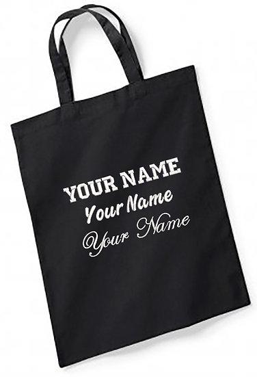 Black Westford Mill Bag For Life -Short Handles showing 3 sample fonts