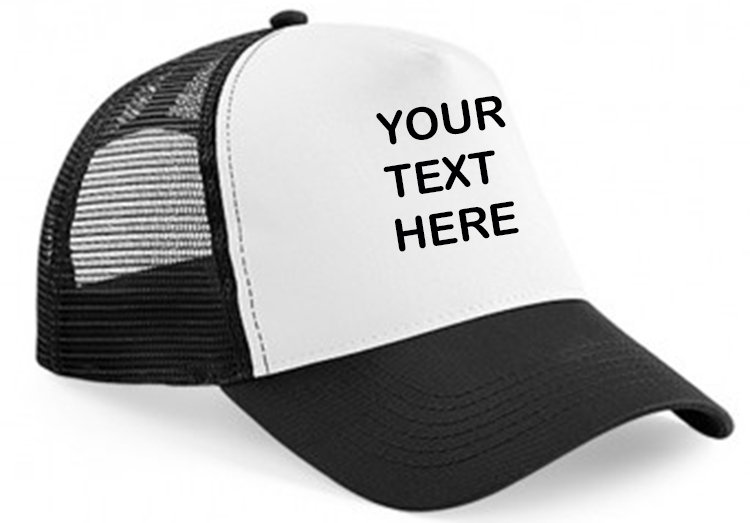 Black cap with black mesh and white front panel showing front placement