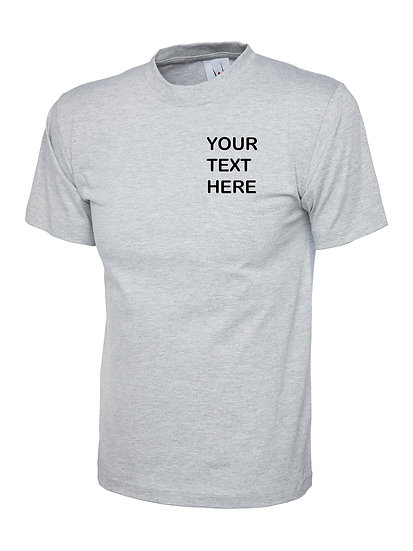 Heather Grey T-Shirt Uneek brand showing left chest placement