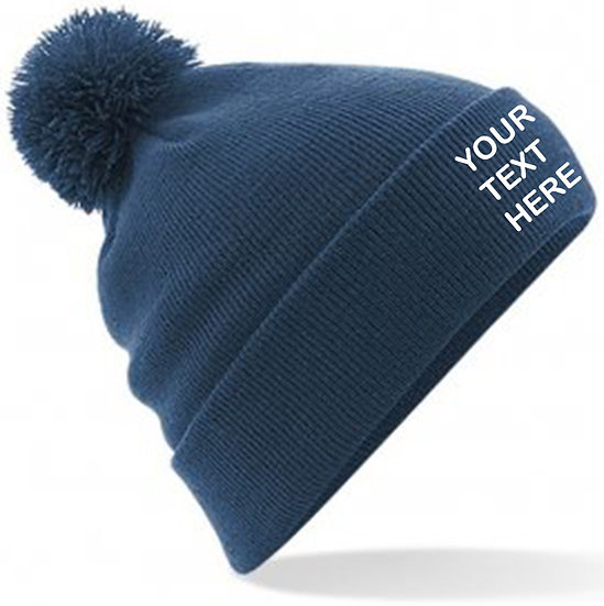 Petrol Blue PomPom Beanie showing front placement