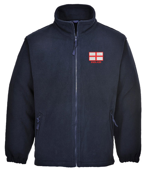 Navy Blue Fleece showing St George flag design and left chest placement