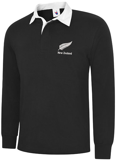 Black Rugby shirt showing placement of design