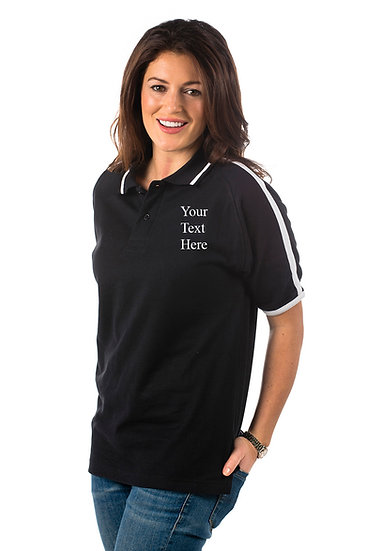Black Polo shirt with white piping on sleeves and collar showing left chest placement
