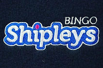 Shipley's Bingo embroidery in mostly blue and white  thread on a fleece