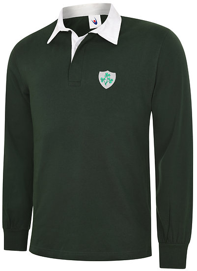 Bottle Green Rugby Shirt showing Retro Ireland design and left chest placement
