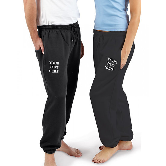 Black joggers showing text placement on left leg and right leg