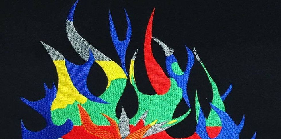 Embroidery of multi coloured fire