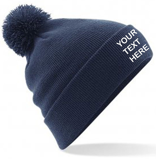Navy Blue PomPom Beanie showing front placement
