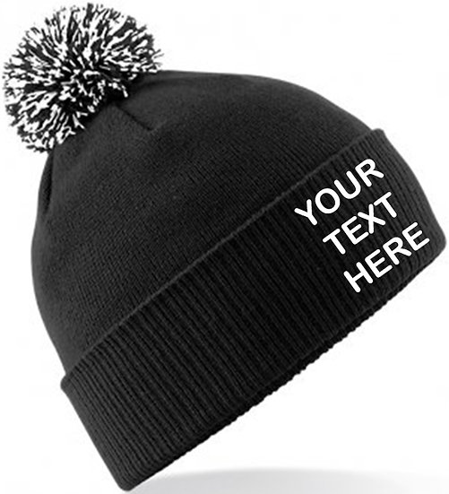 Black/White Contrast PomPom Beanie showing front placement