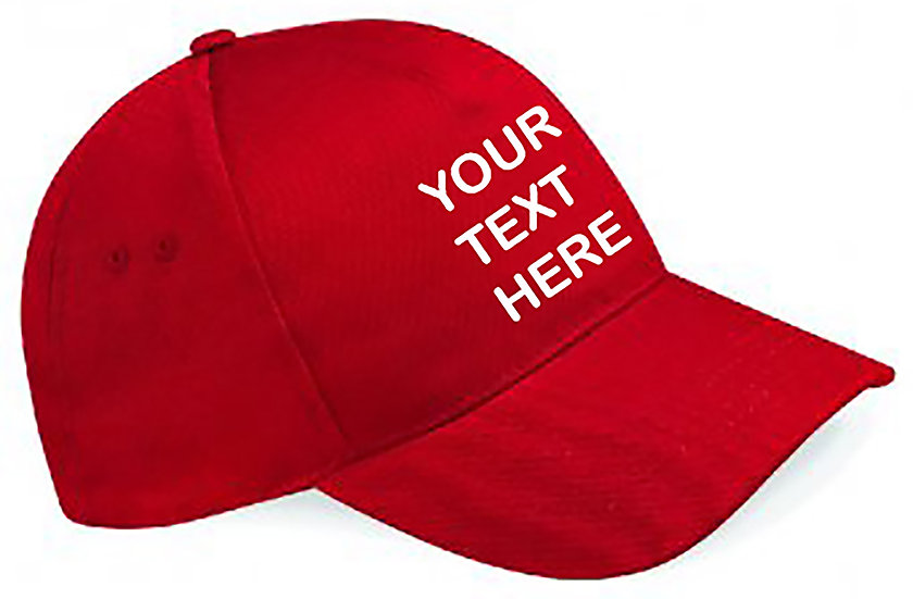 Red Classic Cap showing front placement