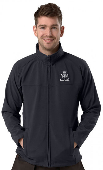 Navy Blue Active Softshell showing Thistle Design and left chest placement