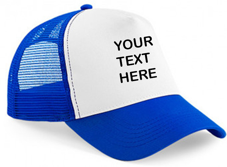 Royal blue cap with royal mesh and white panel showing front placement