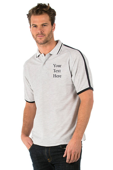 Heather Grey Polo Shirt with Black Piping on the sleeves and collar showing left chest placement