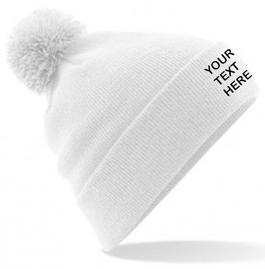 White PomPom Beanie showing front placement