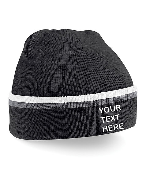 Black/Grey/White Teamwear Beanie showing front placement